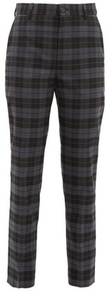 Balenciaga Checked Twill Tapered Trousers - Womens - Grey Multi
