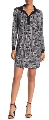 Tash + Sophie Collared Print Shift Dress