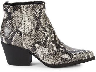Sam Edelman Winona Croc-Embossed Leather Stack-Heel Booties