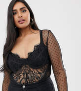Club L London Plus mesh long sleeve lace back body in black