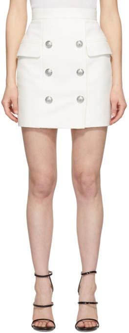 Balmain White Tweed High-Waisted Miniskirt