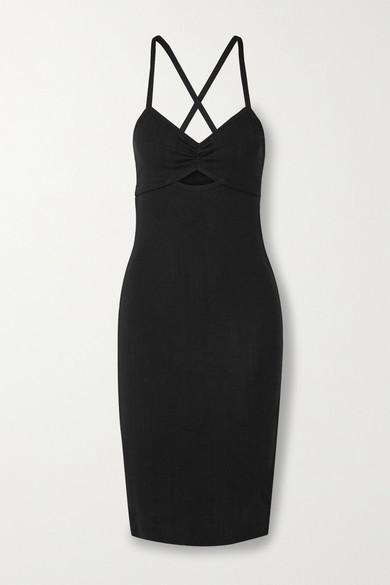 Ninety Percent Cutout Pointelle-knit Organic Cotton-jersey Dress - Black