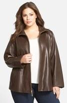 Ellen Tracy Leather A-Line Coat (Plus Size)