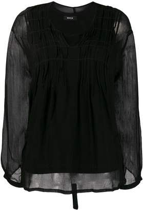 Zucca Pleated Front Tie-Back Blouse