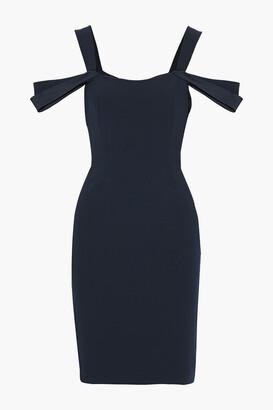 Halston Cold-shoulder Satin-trimmed Crepe Dress