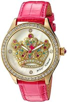 Betsey Johnson Women's Quartz Metal and Leather Automatic Watch, Color:Pink (Model: BJ00517-37)
