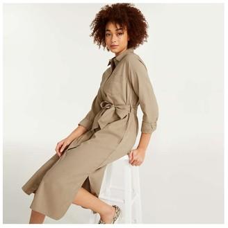 Joe Fresh Women's Twill Shirtdress, Khaki Brown (Size S)