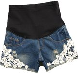 Happyyip Womens Summer Fashion Floral Lace Denim Elastic Waist Maternity Shorts