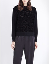 Clu Lace-detailed cotton and cashmere-blend jumper