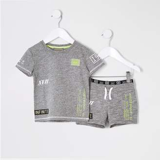 River Island Mini boys RI Active Grey short outfit