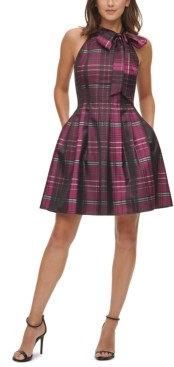Vince Camuto Satin Plaid Bow Fit & Flare Dress