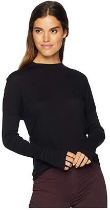Michael Stars Supima Cotton Slub Long Sleeve Mock Neck Top with Thumbholes (Black) Women's Clothing