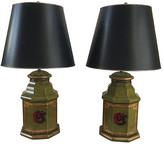 One Kings Lane Vintage English Tole Monogram Table Lamps - Set of 2 - Chic Transitions - multi