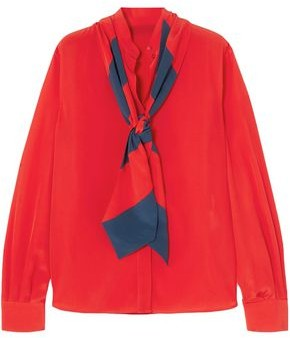Givenchy Pussy-bow Silk Crepe De Chine Blouse