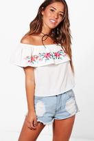 boohoo Petite Michelle Embroidered Off The Shoulder Top
