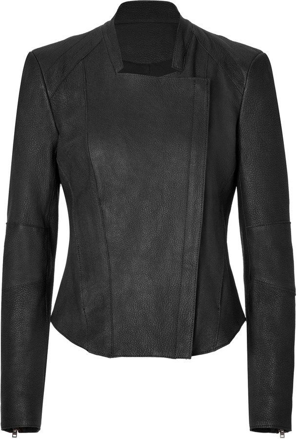 Helmut Lang Leather Fitted Jacket in Black