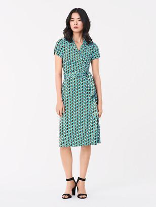 Diane von Furstenberg Grey Silk Jersey Wrap Dress