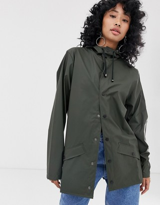Rains short waterproof jacket in green