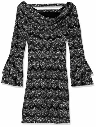 Robbie Bee Women's Long Sleeve Shift Dress Black/Grey Small