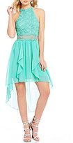Jodi Kristopher Mock Neck Illusion Lace-Bodice High Low A-line Dress