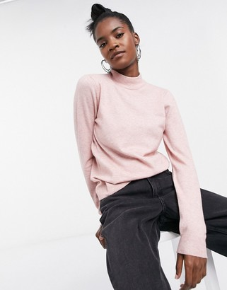 Object Thess turtleneck longsleeve knit jumper in pink