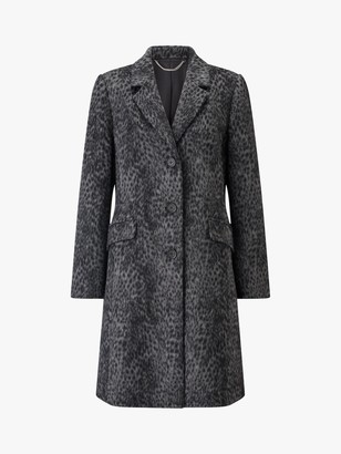 Four Seasons Longline Leopard Print City Coat, Grey