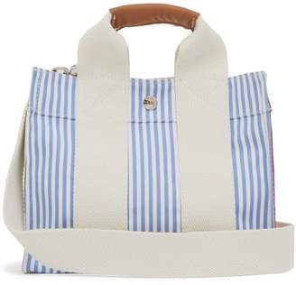 Rue De Verneuil - Baby S3 Patchwork Striped Canvas Tote Bag - Womens - Blue Multi