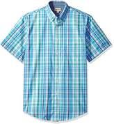 Haggar Men's Short Sleeve Woven Roll-up Poplin Shirt