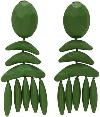 Stella McCartney Green Wood Clip Earrings