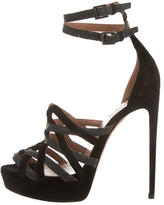 Alaia Stingray-Accented Laser Cut Sandals