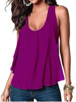 Amstt Women Crewneck Sleeveless Chiffon Casual Loose Tank Top Shirt (L, )