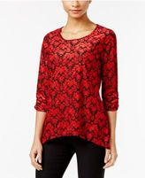 NY Collection Petite Printed Handkerchief-Hem Top