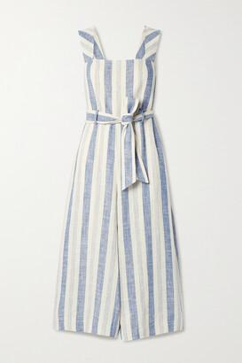 Alice + Olivia - Marty Belted Striped Linen-blend Jumpsuit - Ecru