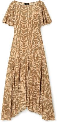 De La Vali Olivia Tiger-print Georgette Maxi Dress