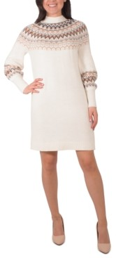 NY Collection Mock-Neck Fair Isle Sweater Dress