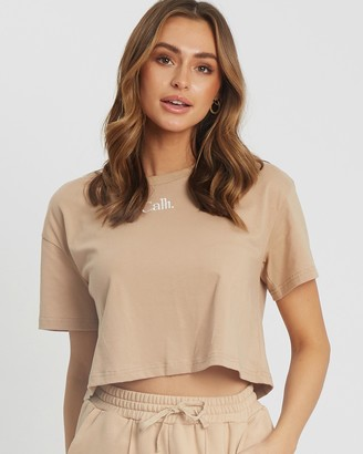 Calli - Women's Brown Basic T-Shirts - Classic Crop Tee - Size XL at The Iconic