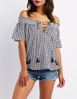 Charlotte Russe Gingham Off-The-Shoulder Lace-Up Top