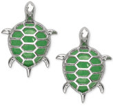Macy's Dyed Jadeite Turtle Stud Earrings in Sterling Silver