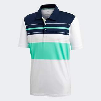 adidas Mens Golf Ultimate365 Engineered Block Polo White/Aero Green