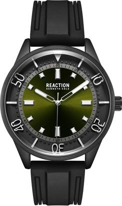 Kenneth Cole Reaction Men's Round Black Silicone Strap Watch