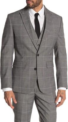 Moss Bros Medium Grey Plaid Two Button Peak Lapel Tailored Fit Suit Separates Jacket