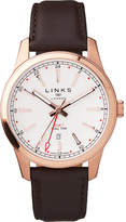 Links of London Greenwich gmt mens brown leather watch