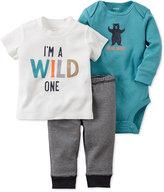 Carter's Baby Boys' 3-Pc. Little Wild One T-Shirt, Bodysuit & Pants Set