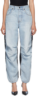 Alexander Wang Blue and Black Denim Hybrid Cargo Jeans