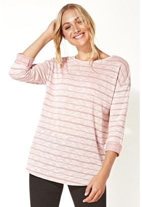 M&Co Roman Originals shimmer stripe 3/4 sleeve top