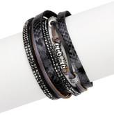 Saachi Black Exotic Reptile Embossed Genuine Leather Bracelet