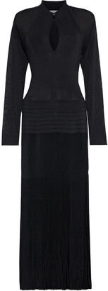 Victoria Beckham Pleated Stretch-knit Midi Dress