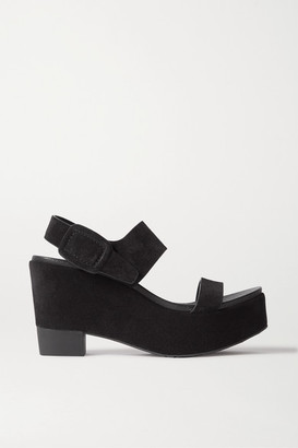 Pedro Garcia Desi Suede Platform Wedge Sandals - Black