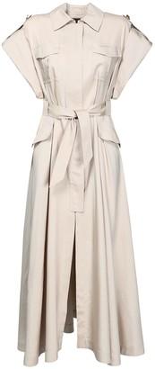 Alexandre Vauthier Canvas Silk Safari Midi Dress W/Belt