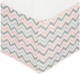 American Baby Company 100% Cotton Tailored Bed Skirt with Pleat - Gray Zigzag